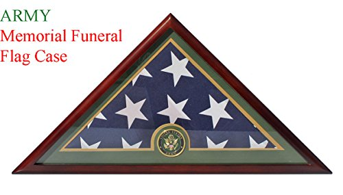 Memorial Case (Army Flag Display Case-Mahogany Finish, Veteran Memorial for 5' X 9.5' Flag, FC59-MA)