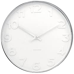 Karlsson Wall Clock Mr. White Numbers Steel Polished 37.5cm, KA4383