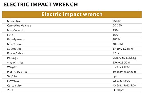 atliprime Electric Air Impact Wrench, 480N.M 12 Volt Impact Driver Electric Tire Wrench ZSB02 by atliprime (Image #6)