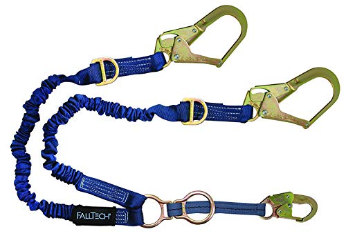 FallTech 8240Y32D2R ElasTech Lanyard-Adjustable Y-Leg, 1 Snap Hook, 2 Rebar Hooks, 1 D-Ring for SRL Attachment/2 Rescue D-Rings, 4' to 6', Blue ()