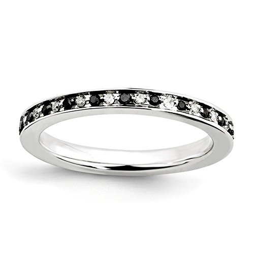 Sterling Silver Stackable Expressions Black & White Diamond Ring Size 5 by Jewels By Lux (Image #3)