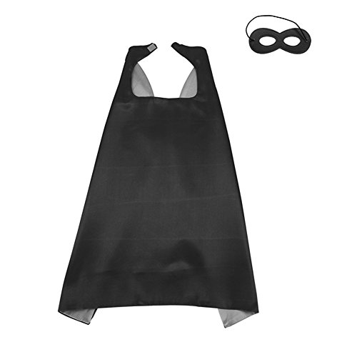 LYNDA SUTTON Black and Silver Satin Capes for Kids,Children Double Color Capes,Party Favor Cape and Mask