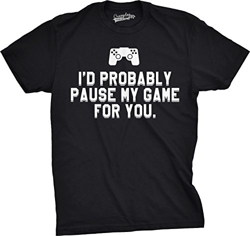 Crazy Dog T-Shirts Mens ID Probably Pause My Game For You Nerdy Video Gaming T Shirt (Black) M Tech Print Video
