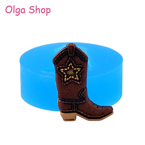 Star-Trade-Inc - 22.4mm Cowboy Boot Silicone Mold - Fondant Craft, Cake Decorating Tools, Resin Polymer Clay, Chocolate, Cookie Biscuit -