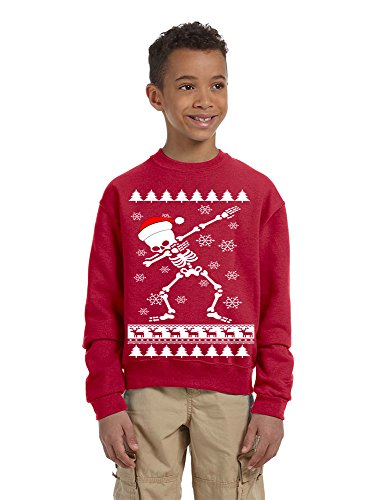 - Allntrends Kids Youth Sweatshirt Dabbing Skeleton Dab Ugly Xmas Present (M, Red)