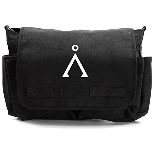 Stargate Earth Heavyweight Canvas Messenger Shoulder Bag in Black