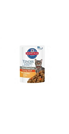 Hills Science Plan Sterilised Cat Young Adult Alimento húmedo Gusto Pollo para Gatos sterilizzati 12 bolsitas