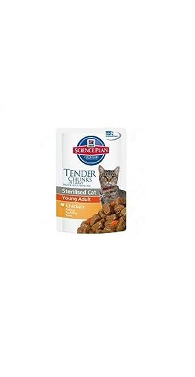 Hills Science Plan Sterilised Cat Young Adult Alimento húmedo Gusto Pollo para Gatos sterilizzati 12 bolsitas