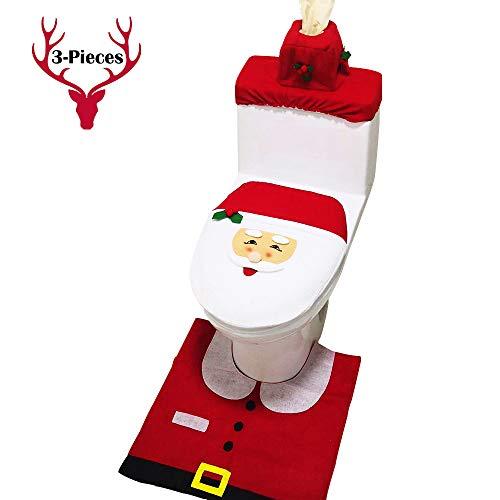 kayhan Christmas Toilet Seat Cover and Rug Set Red Happy 3D Nose Santa 3pcs Christmas Decorations Bathroom Décor Supplies Set (Santa) (Sale Christmas Sets Bathroom)