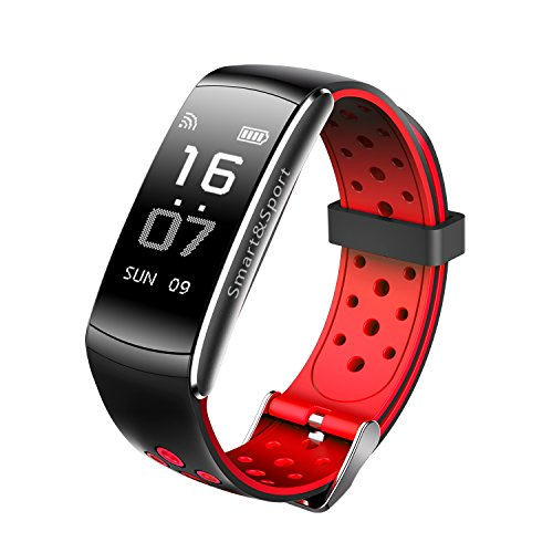 Fitness Tracker Z11 smart bracelet 0.96inch, Real-time Dynamic Heart Rate, Drink Reminders, IP68 Waterproof, Blood Pressure&blood Oxygen Monitoring for IOS and Android Cellphone (Red & black)