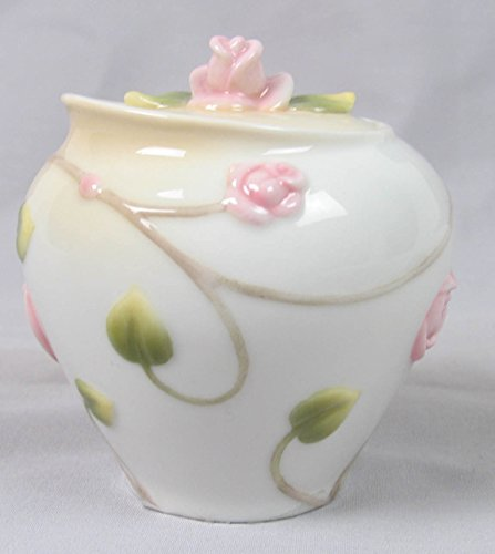 3.25 Inch White Porcelain Sugar Bowl Roses Buds Leaves -