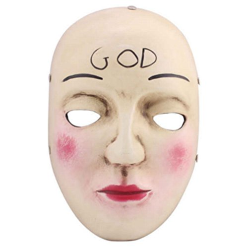 Charmgle Resin Smile Face The Purge Mask Anarchy Movie prop Halloween masquerade Cosplay (God) -