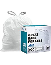 """Plasticplace - TRA275WH Custom Fit Trash Bags │ simplehuman (x) Code R Compatible (100 Count) │ White Drawstring Garbage Liners 2.6 Gallon / 10 Liter │ 16.5"""" x 18"""" White"""