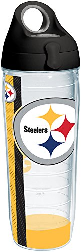 Tervis 1231147 NFL Pittsburgh Steelers Stripe Tumbler with Wrap and Black with Gray Lid 24oz Water Bottle, Clear Pittsburgh Steelers Stripe