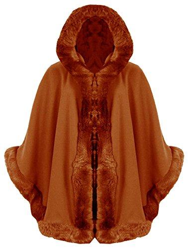 Puncho Fur Hooded Celebrity Faux Cape Women Coat Wrap Rust Italian Baleza Ladies Mantle wnR0BxR