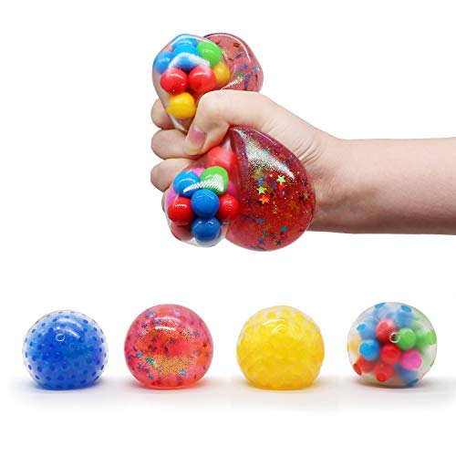 TOYCRAZ Squishy Stress Balls Toy, Squeezing Stress Relief Ball (4-Pack) for Kids and Adults, Colorful Funny Fidget Sensory Toys for Anxiety, ADHD, Bad Habits and More