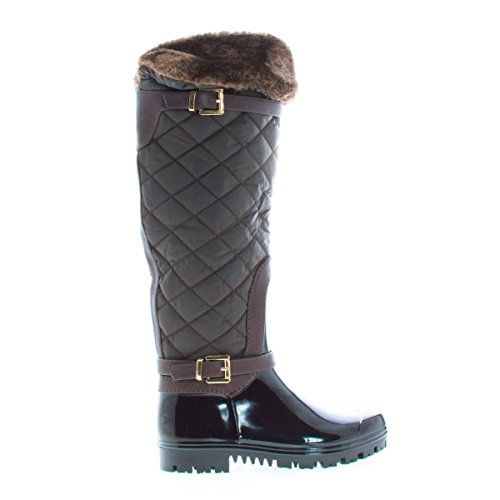DEV Carrie Women's Warm Fur Waterproof Strap Round Mid Snow Toe Shape Brown Shoes Forever Calf Diamond Deck 66 Deco Boot UU1Swr