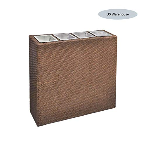 Hellowland Garden Rectangle Rattan Planter Set Long Narrow Rectangular Modern Outdoor Planter Box Decorative Fiberglass Flower Pot for Garden Patio Home or Office (Brown) (Fiberglass Pots Flower)