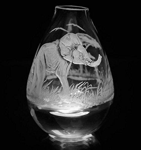 Hand Engraved Bud Vase, Small Glass Vase, Elephant Vase, Art Deco Vase, Engraved Vase, Mini Vase Etched, Crystal Bud Vase by Akoko Art Handengraved Crystal Glass