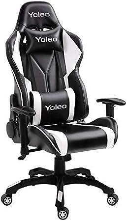 YOLEO Silla Gaming Profesional, Silla Ajustable Giratoria para Juegos, Poilipiel, Ergonómica, Carga Máxima de 150 kg, Negro-Blanco