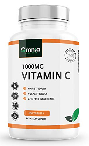 Vitamin C 1000mg | Ascorbic Acid | 180 Vegan Tablets | 6 Month's Supply | Made in The UK by Omnia NUTRIENTS