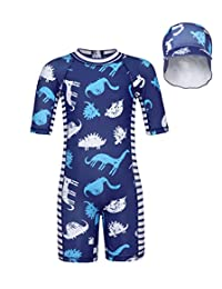 Cotrio Swimsuit UPF 50+ Sun Protection Rash Guard Shirts Set Swimwear with a Cap for Little Boys