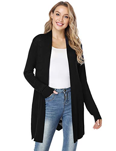 Irevial Women Casual Boyfriend Waterfall Cardigan Knitted Open Front Long Sleeve Cardigans Top