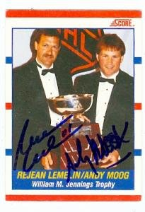Andy Moog and Rejean Lemelin autographed hockey card (Boston Bruins) 1990 Score #365
