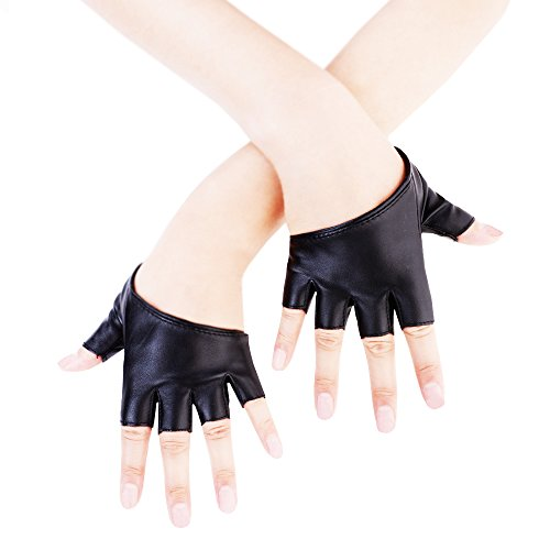 (JISEN Women Half Palm Half Finger PU Leather Dancing Punk Gloves Black)