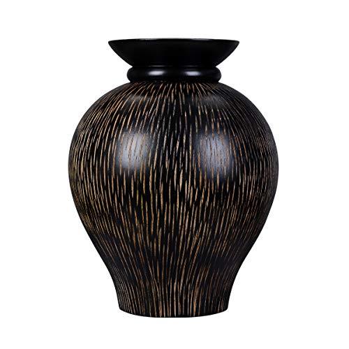 """Villacera Handmade 10"""" Mango Black Decorative Urn Vase   Zebra Striped Flower Pot   Eco-Friendly and Sustainable Wood"""