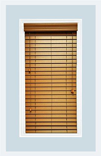 Delta Blinds Supply Custom-Made, Faux Wood Horizontal Window Blinds, 2 Inch Slats, Inside Mount, Golden Oak, Inside Window Size: 18″ W x 24″ L