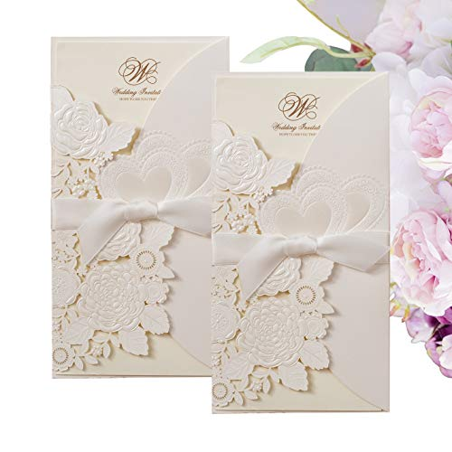 (Gold Fortune 20 Packs Laser Cut Quinceanera Wedding Invitations with Insert Cards Kit and Envelopes for Party Favors (CX075 White))