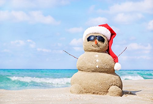 Laeacco Beach Sandy Snowman in Red Santa Hat Backdrops 7x5ft Merry Christmas Photography Background Sea Beach Blue Sky Family Holiday Party Artistic Studio Props Photo Studio ()