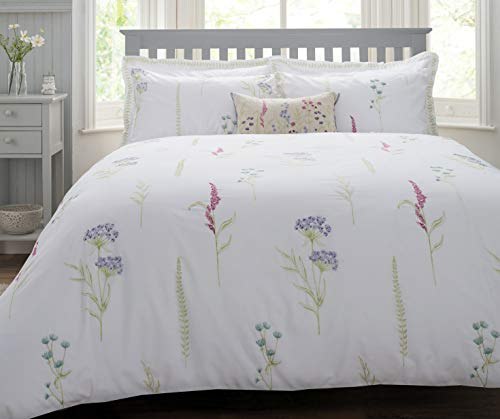 (ZIGGUO Spring Meadow 100% Cotton Floral Duvet Cover Queen, Botanical Flowers Embroideried White Bedding Set, 90