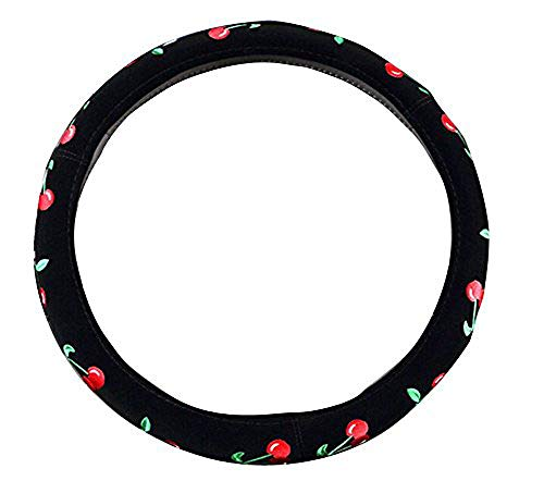Steering Cherries Wheel Cover - SYNN 2018 New Automotive Women Embroidery Cute Car Steering Wheel Cover (Cherry)