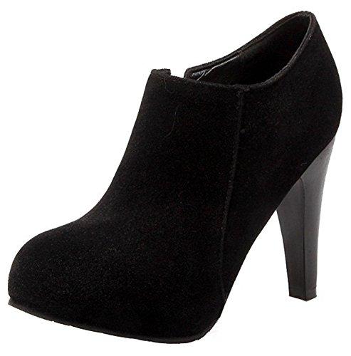 Summerwhisper Women's Dressy Faux Suede Round Toe Hidden Platform Side Zipper High Heel OL Ankle Booties Black 4 B(M) US