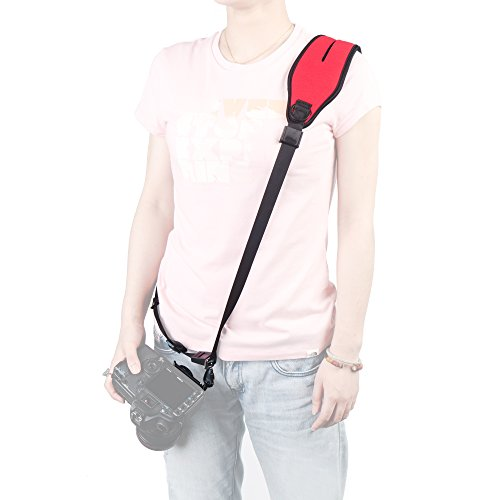 Photo Rapid Fire Camera Neck Strap Quick Release and Safety Tether(RED)+TF Adaptor TF/SD Card Case Holder+Clean Cloth (Red)