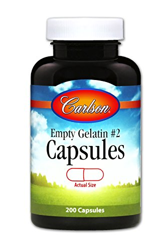 - Carlson - Empty Gelatin #2 Capsules, Easy to Separate & Fill, 200 capsules