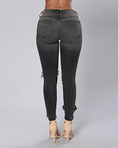 Rotos Pantalones Up Vaqueros Denim Push Vaqueros Skinny Elásticos Mujer negro Jeans 5qgRxtP