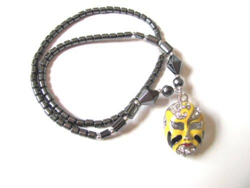 Healing Hematite Necklace with Color Enamel and Rhinestone Opera Mask Pendant Mardi Gras (Yellow and Black)