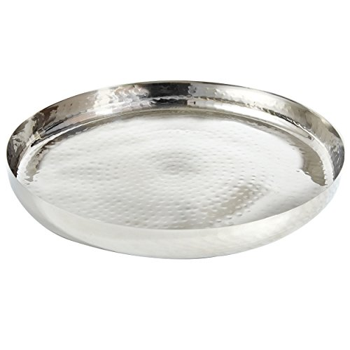 """Elegance 72576 Hammered Stainless Steel Round Tray 13"""" Silver"""