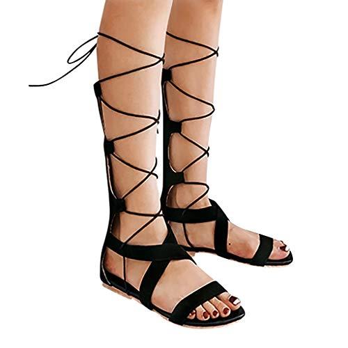 Women Gladiator Sandals Flat,Summer Strappy Lace Up Open Toe Knee High Flat Sandal (Black4, US:8.0)