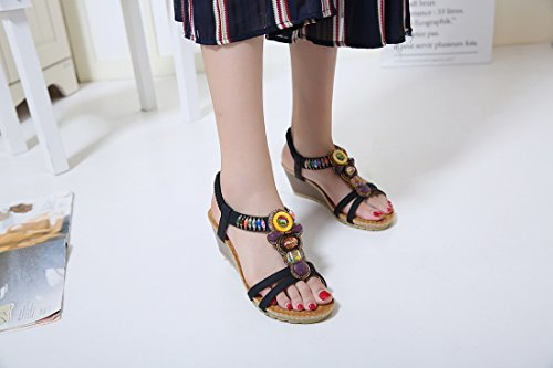 Noir Women D'été Des Pour Sandales Ruiren Dames Cale Chaussures Bohemian Beeded De PxxT7wqCd