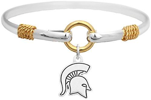 Michigan State Spartans Two Tone Silver Gold Cuff Bracelet Charm Jewelry MSU