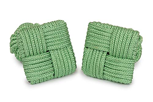 Cufflinks Light Green Square One Silk Size Green Knot Light Men SoloGemelos SqAfBtx