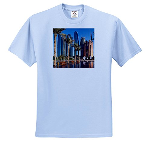 ties - UAE, Abu Dhabi. Etihad Towers and Emirates Palace Hotel Fountains - T-Shirts - Adult Light-Blue-T-Shirt Large (TS_277135_52) ()