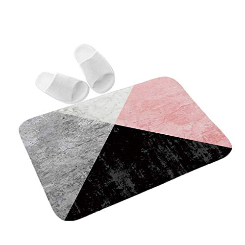 Homieco Doormat Gemotric Texture Pink Black Entrance Floor Mats Non Slip Safety Bath Mat Rug 16