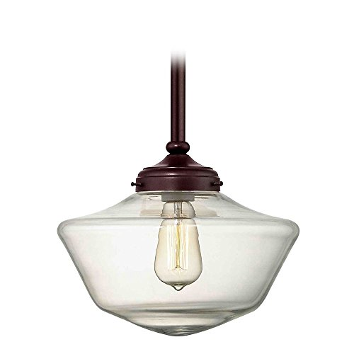 (12-inch Clear Glass Schoolhouse Pendant Light in Bronze Finish)