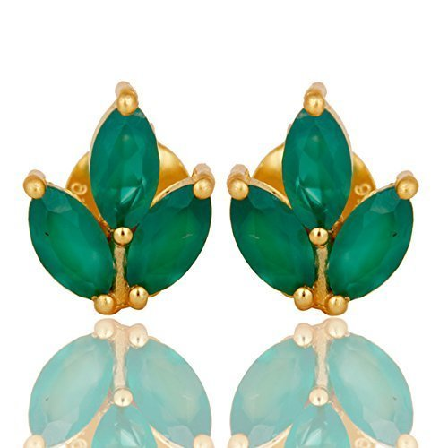 Verde ónix piedra preciosa espárragos pendientes oro plateado 925 aretes de plata joyas