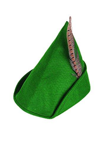 Rimi Hanger Unisex Green Robin Hood Hat With Feather Adults Fancy Dress Book Week Accessory One -